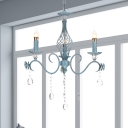 Candle Metal Suspension Lighting Pastoral 3/5/8 Bulbs Bedroom Pendant Chandelier in Blue with Clear Crystal Drop