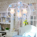 Pastoral Rose Pendant Chandelier 4 Bulbs White Glass Suspension Light with Metal Curvy Arm