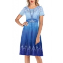 Gorgeous Ladies Short Sleeve Round Neck Ice Pattern Ombre Midi Pleated A-Line Dress in Blue