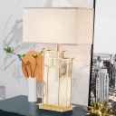 Rectangle Desk Light Modernist Fabric 1 Light White Night Table Lamp with Golden Frame and Marble Panel Deco