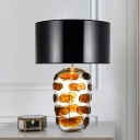 Luxury Cylindrical Fabric Table Lamp 1 Head Night Lighting with Blue/Yellow Glaze Base for Living Room