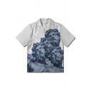 Novelty Boys White Short Sleeve Lapel Neck Button Down Statue Pattern Regular Fit Shirt