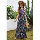 Casual Fancy Ladies Sleeveless Round Neck All Over Flower Printed Maxi Pleated A-Line Dress in Blue