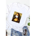 Spoof Popular Rolled Short Sleeve Round Neck Funny Mona Lisa Pattern Slim Fit T-Shirt for Girls