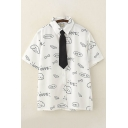 Classic Preppy Looks White Short Sleeve Lapel Neck Button Down All Over Letter CUTE Cartoon Graphic Relaxed Shirt with Tie