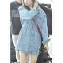 Stylish Street Ladies Long Sleeve Lapel Neck Button Down Gathered Waist Flap Pockets Long Fitted Denim Jacket in Blue