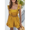 Fancy Ladies Sleeveless Square Neck Ruffled Trim Bow Tie Back Slim Fit Crop Top & Relaxed Fit Shorts Two Piece Sets in Yellow