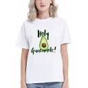 Chic Simple White Rolled Short Sleeve Crew Neck Letter AN AVOCADO Cartoon Avocado Graphic Regular Fit T-Shirt for Girls