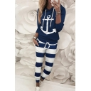 Popular Womens Long Sleeve Drawstring Anchor Printed Loose Hoodie & Striped Cuffed Ankle Sweatpants