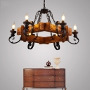 6-Light Candle Hanging Chandelier Rustic Wood and Iron Chandelier Light in Black for Restaurant