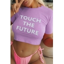 Trendy Girls Short Sleeve Round Neck Letter TOUCH THE FUTURE Print Fitted Cropped Tee Top