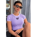 Pretty Street Womens Short Sleeve Crew Neck Butterfly Embroidered Contrast Piped Slim Fit Cropped T Shirt in Purple