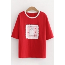 Girls Cute Kawaii Short Sleeve Round Neck Letter JAPAN Rabbit Graphic Contrasted Relaxed Tee Top