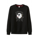 Popular Cool Boys Long Sleeve Round Neck Letter EVERYTHING WILL BE OKAY Dog Graphic Relaxed Pullover Sweatshirt
