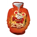 Fancy Guys Long Sleeve Letter Mouse Graphic Drawstring Pouch Pocket Loose Fit Hoodie