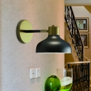 Farmhouse Barn Wall Sconce 1-Head Metal Wall Mounted Lamp in Black with Plug In Cord