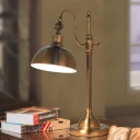 Dome Metal Table Lighting Antiqued Study Room LED Reading Lamp in Gold with Gooseneck Arm