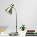 Industrial Domed Reading Light LED Metallic Table Lamp in Silver with Plug In Cord
