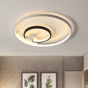 Double-Halo Flush Light Fixture Simple Acrylic Black and White LED Close to Ceiling Lamp in Warm/White Light, 16