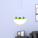 White Round Hanging Lighting Modernist LED Acrylic Ceiling Pendant Lamp in White/Warm Light with Plant Decor, 11