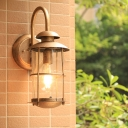 Farmhouse Cylindrical Sconce Light 1 Head Water Glass Wall Mounted Lamp Fixture in Brass