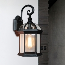 1-Bulb Sconce Light Fixture Lodges Birdcage Clear Glass Wall Mount in Brass/Black for Passage