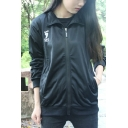 Cool Casual Girls Long Sleeve Stand Collar Zip Up Letter Print Embroidery Relaxed Fit Volleyball Jacket in Black