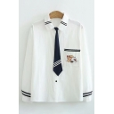 Preppy Girls Long Sleeve Lapel Neck Button Up Cat Embroidery Pocket Panel Varsity Striped Relaxed Fit White Shirt with Tie