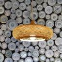 1 Bulb Restaurant Hanging Lamp Minimalist Beige Suspension Pendant with Oblong Rattan Shade