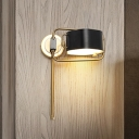 Acrylic Drum Shape Wall Mount Light Contemporary LED Black and Gold Wall Sconce with Rotatable Design