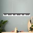 Acrylic Piano Keyboard Flush Mount Lamp Minimalist White/Black LED Ceiling Flush Mount for Restaurant in Warm/White/Natural Light