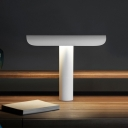 Tubular Bedroom Table Lighting Metallic 1 Head Contemporary Night Light in White