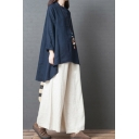 Classic Vintage Long Sleeve Stand Collar Button Up Solid Color High Low Cotton and Linen Oversize Shirt