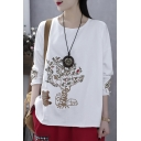 Vintage Womens Long Sleeve Round Neck Tree Bear Embroidery Roll Edge Loose Fit T Shirt
