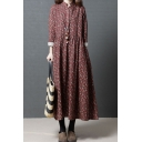 Pretty Vintage Womens Roll Up Sleeve Stand Collar Button Up Ditsy Floral Pattern Maxi Pleated Swing Dress