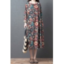 Retro Girls Roll Up Sleeves Round Neck Flower All Over Printed Linen Maxi Oversize Red Dress