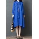 Retro Style Simple Rolled Long Sleeve Lapel Neck Button Down Ruched Linen Long Plain Oversize Shirt Dress