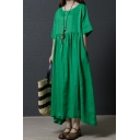 Trendy Ladies Solid Color Short Sleeve Round Neck Linen and Cotton Maxi Pleated Swing Dress