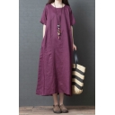 Simple Womens Short Sleeve Round Neck Cotton and Linen Color Block Long Oversize Dress