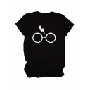 Basic Summer Roll Up Sleeve Crew Neck Glasses Lightning Printed Slim Fitted Tee Top for Girls