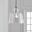 Urn Shaped Clear Glass Pendant Lighting Minimal 1 Bulb Chrome Finish Ceiling Suspension Lamp