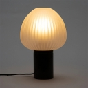 Nordic 1 Bulb Night Table Light Black Onion Nightstand Lamp with White Ribbed Glass Shade