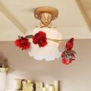 Brown 1 Bulb Flush Mount Lamp Korean Flower Opal Glass Scalloped Semi Flush Ceiling Light for Bedroom
