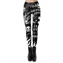 Cool Black Yoga Mid Rise All Over Letter Skeleton Pattern Ankle Length Stretchy Slim Fit Leggings for Girls