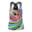Trendy Womens Black Sleeveless Round Neck Oil Painting Cartoon Girl Colorful Vortex Print Slim Fit Tank Top