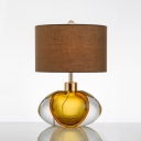 Brown Cylinder Night Lighting Simplicity 1-Light Fabric Table Light with Clear and Amber Glaze Base