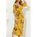 Fancy Ladies Ruffled Sleeve Surplice Neck Bow Tie Waist All Over Floral Print Maxi Pleated Shift Dress