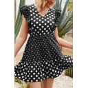 Lovely Girls Short Sleeve V-Neck Polka Dot Patterned Patchwork Ruffled Trim Short Pleated A-Line Dress