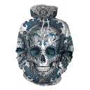 Trendy Blue Long Sleeve Drawstring Skull Flower 3D Patterned Pouch Pocket Loose Hoodie for Boys