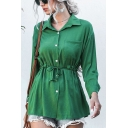 Formal Fashion Ladies Solid Color Long Sleeve Lapel Neck Button Down Drawstring Waist Regular Fit Shirt in Green
